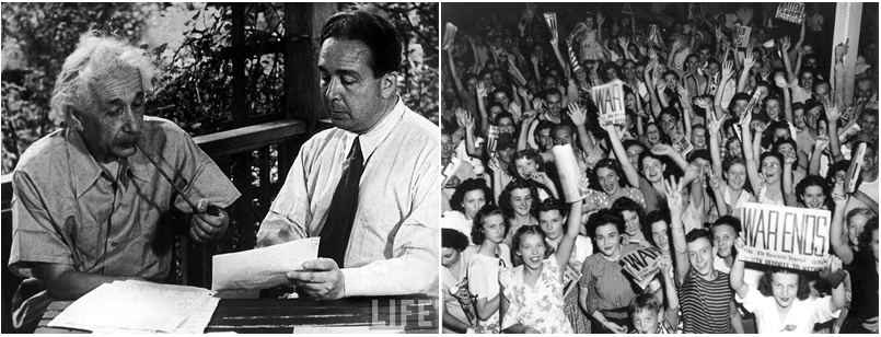 """Image of Albert Einstein and Leo Szilard with letter dated August 2, 1939 to President Franklin D. Roosevelt and an image of """"WAR ENDS"""""""