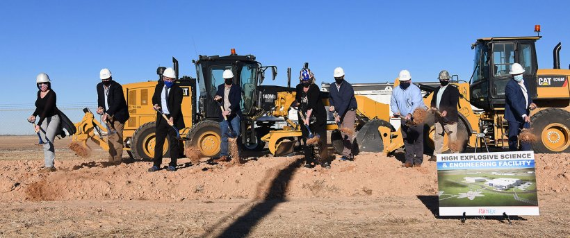 Leaders from the Pantex Plant, Consolidated Nuclear Security, and NNSA broke ground on the High Explosive Science and Engineering Dec. 8.