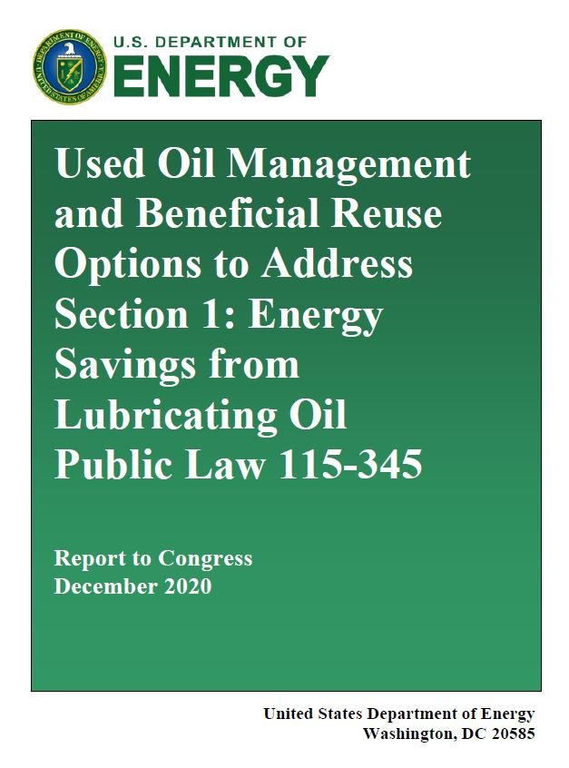 Oil Management and Beneficial Reuse Report