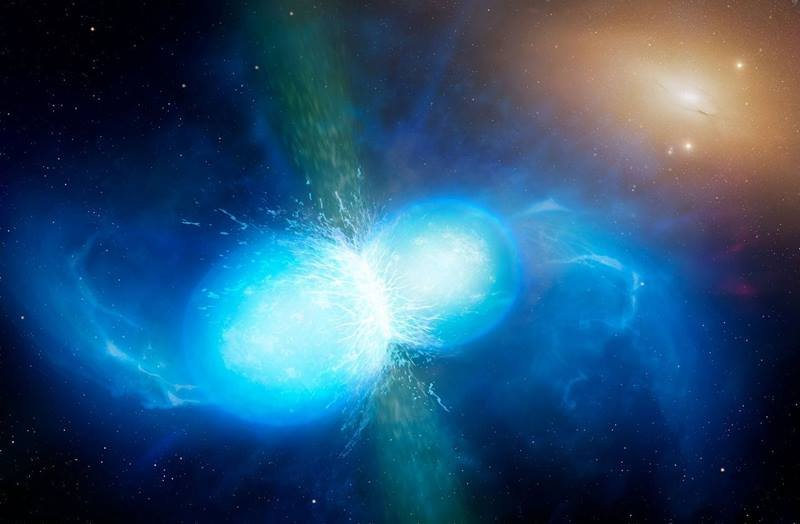 An artist's impression of the collision of two neutron stars. This collision causes gravitational waves, a gamma-ray burst, and a massive explosion. Scientists believe the explosions are the universe's main source of heavier elements such as gold.