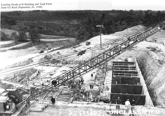 This 1948 photo shows construction of tank vaults at the former Separations Process Research Unit.