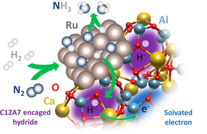 The atomic structure of the ruthenium-calcium-aluminum metal catalyst used in ammonia synthesis. Hydrogen atoms on the surface react with nitrogen atoms to form ammonia. The novel catalyst uses considerably less heat and pressure than other catalysts.