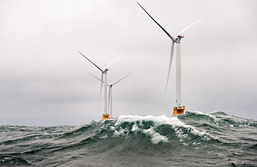 Heavy seas engulf the Block Island Wind Farm—the first U.S. offshore wind farm.