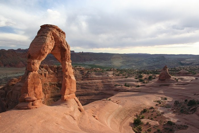 At 46 feet high, Delicate Arch is one of Arches National Park's most popular geologic features.