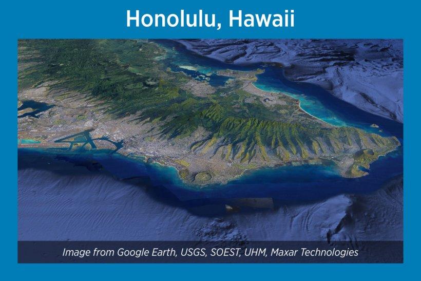 Honolulu, Hawaii, Satellite Image