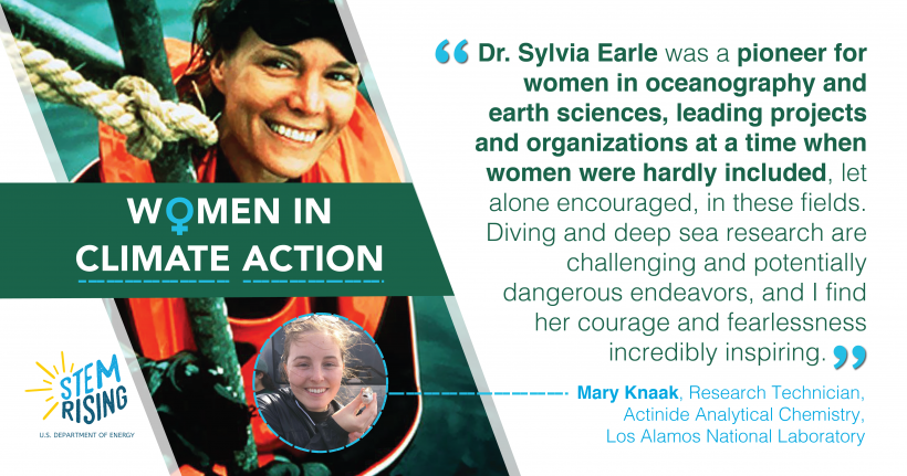 Mary Knaak, a Research Technician in Actinide Analytical Chemistry with Los Alamos National Laboratory, finds motivation in the actions and life of Dr. Sylvia Earle, an oceanographer.