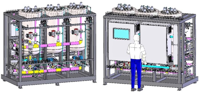 This front-and-back illustration shows a new filter system that will eliminate the need to shut down operations every 12 hours for filter replacement during wastewater processing at the Hanford Site's Effluent Treatment Facility, which is being upgraded to support 24/7 tank waste treatment operations.