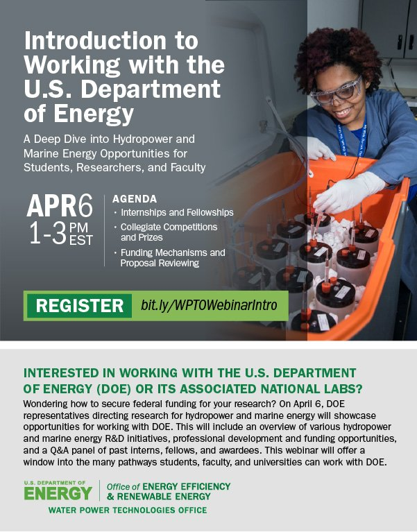 Flyer promoting the WPTO intro to working with DOE banner.