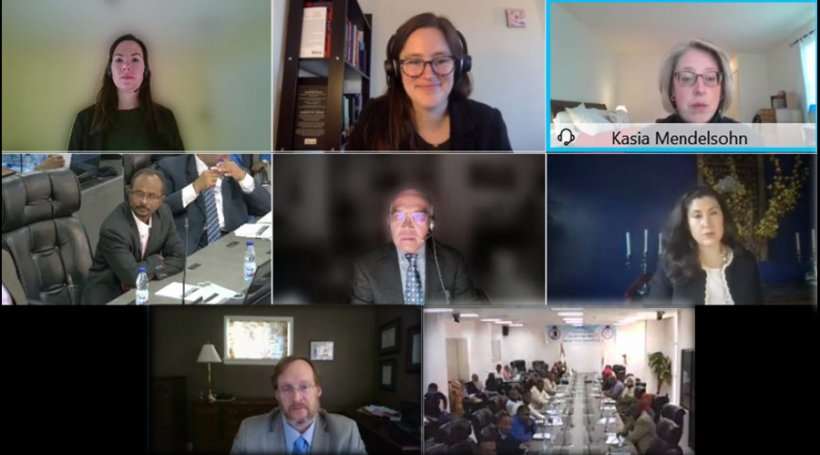 NNSA's Acting Deputy Administrator for Defense Nuclear Nonproliferation Kasia Mendelsohn addresses participants of the virtual workshop with the Sudanese Nuclear and Radiological Regulatory Authority.