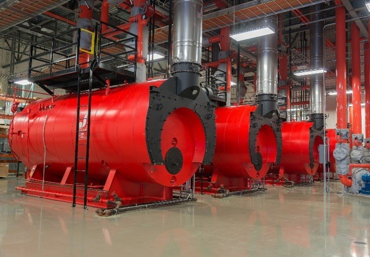 These natural gas boilers at NNSA's Kansas City National Security Campus provide heat for the site's main building, which covers over one million square feet.