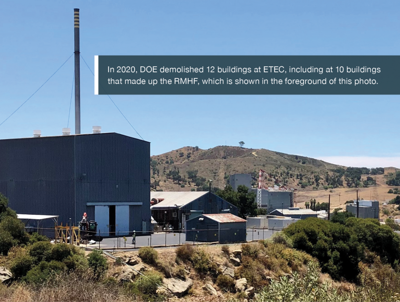 In 2020, DOE demolished 12 buildings at ETEC, including at 10 buildings that made up the RMHF, which is shown in the foreground of this photo.