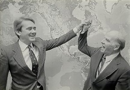 U.S. Senator Gaylord Nelson (right), who created Earth Day to amplify environmental causes, is seen here with U.S. Environmental Protection Agency Administrator William K. Reilly.