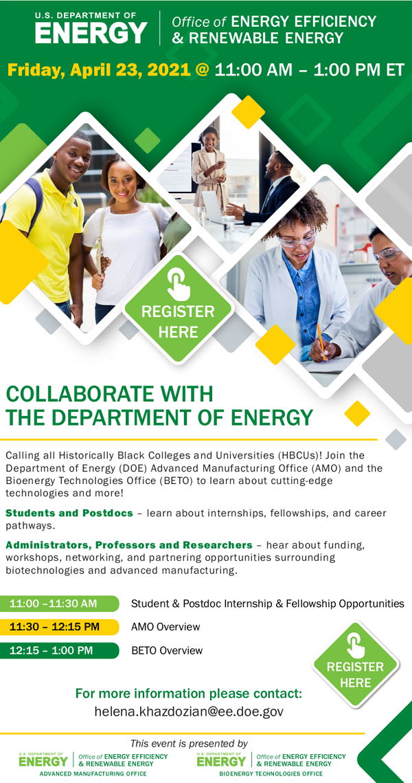 Collaborate with the DOE 4/23/21 @ 11:00 AM – 1:00 PM ET