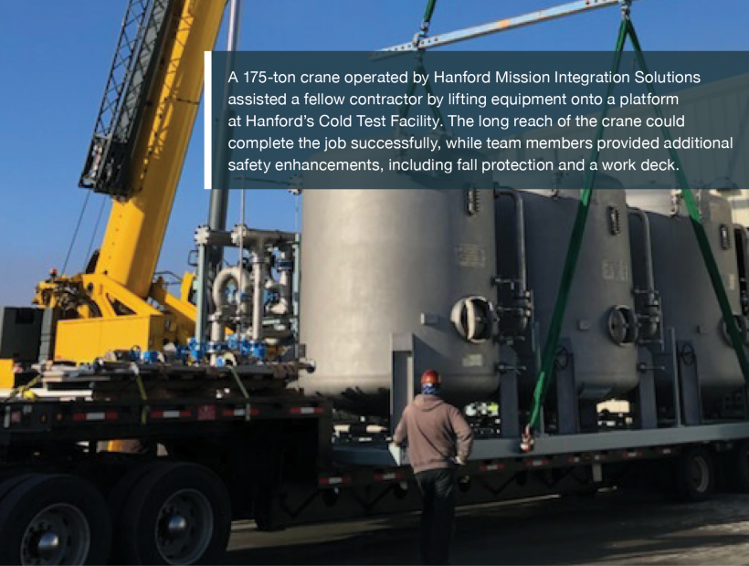 A 175-ton crane operated by Hanford Mission Integration Solutions assisted a fellow contractor by lifting equipment onto a platform at Hanford's Cold Test Facility. The long reach of the crane could complete the job successfully, while team members provided additional safety enhancements, including fall protection and a work deck.
