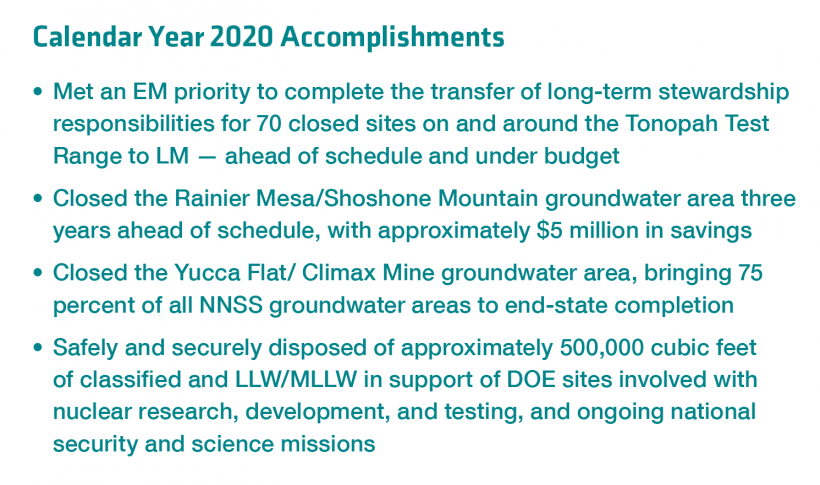 NNSS Calendar Year 2020 Accomplishments