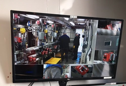 Monitors in a trailer adjacent to the Tank-Side Cesium Removal system allow test managers to view simulated waste runs.