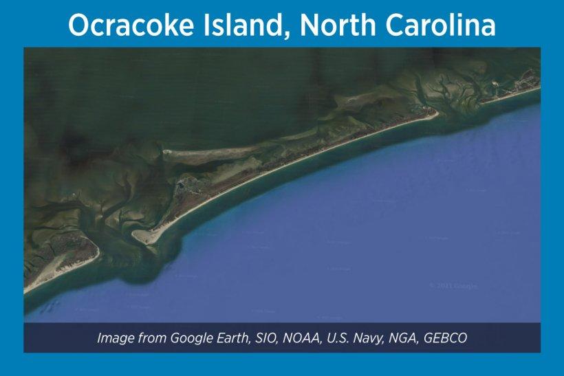 Ocracoke Island, North Carolina, Satellite Image
