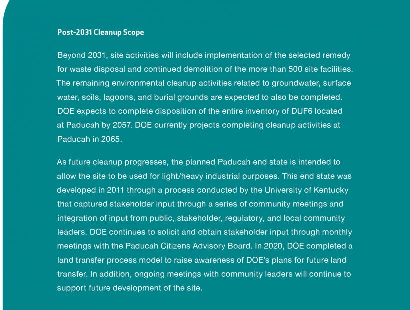 Paducah Post 2031 Cleanup Scope