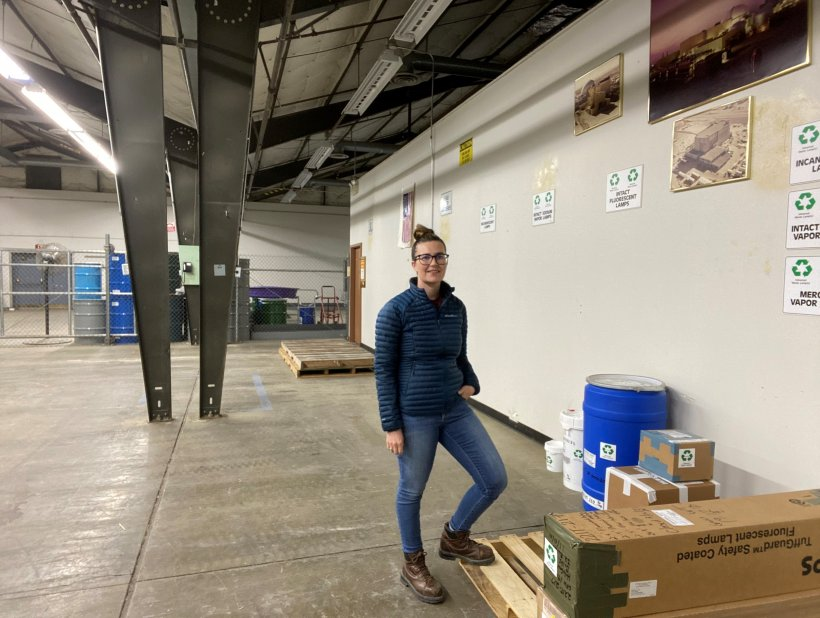 Environmental scientist Carly Nelson works inside Hanford's Centralized Consolidated/Recycling Center, overseeing recycling and universal waste brought to the facility and shipped offsite.