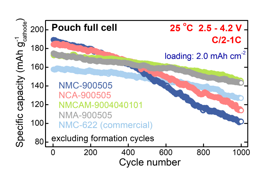 Graph showing the specific capacity and the cycle number relationship