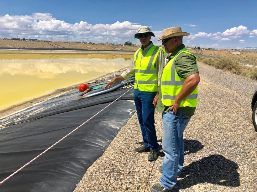Shawn Montgomery, right, at LM's Shiprock, New Mexico, Disposal Site.