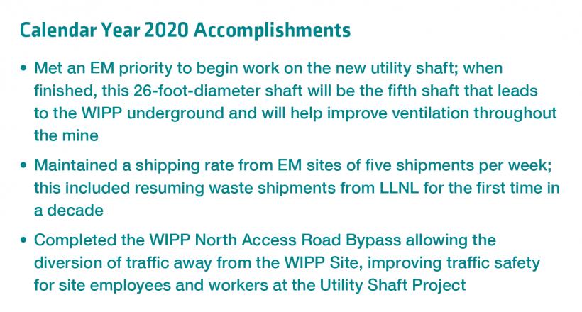WIPP Calendar Year 2020 Accomplishments