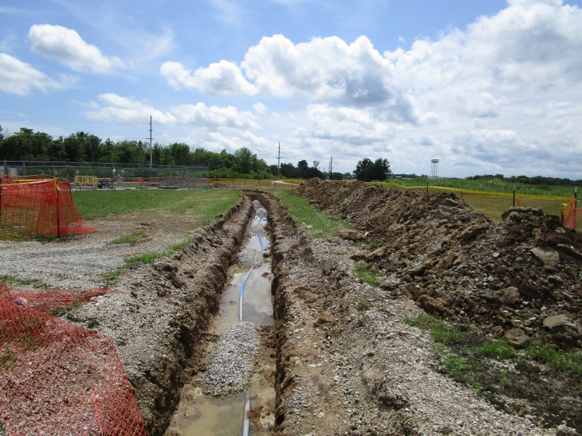 A pipeline trench, identified as the South Area, dug for the waterline replacement project.