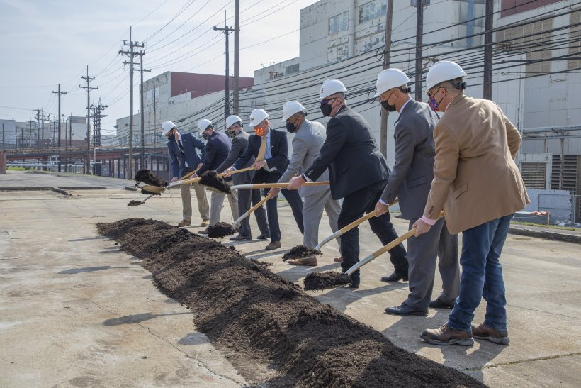 Officials participate in a groundbreaking ceremony for the West End Protected Area Reduction project (WEPAR) at Y-12 National Security Complex.