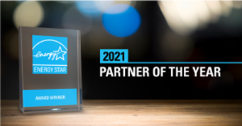"""Image of the ENERGY STAR award, with the words """"2021 Partner of the Year."""""""