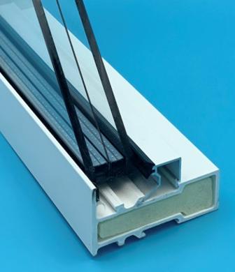Crosscut image of a thin triple-paned window.