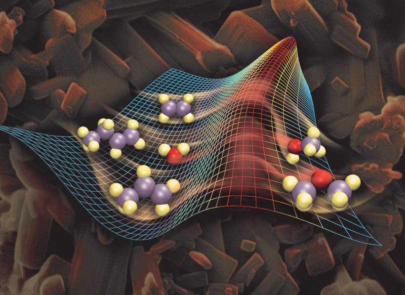 Background: cubes and rods of a catalyst material. Foreground: molecules gaining energy to convert into a desired product.