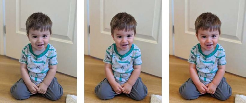 Three identical photos of a young child with variations in color appearance.