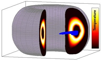 A computer simulation showing temperature contours of a hot fusion plasma being cooled from the inside (the dark region in the center) after the release of the shell pellet payload material (in blue) near the center.