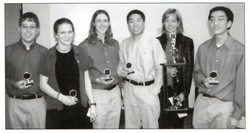 Seth Johnson and his A&M High School team members. Left to right: Seth Johnson, Meredith Gardner, Michael Adams, Adam Wang, Kristen Jones (Coach), Felix Huang