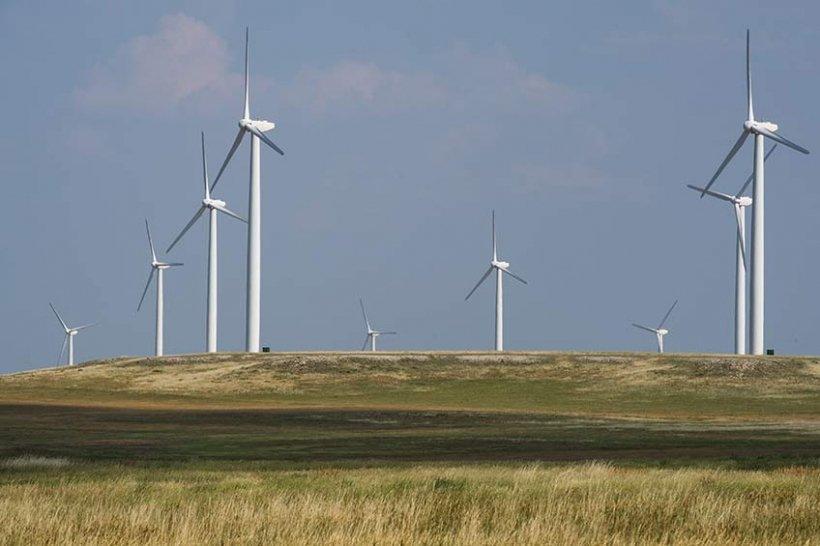 Wind turbines at a wind farm.
