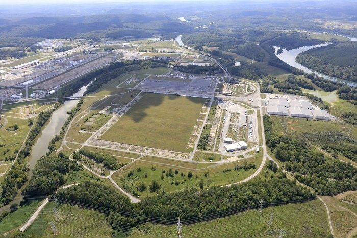 A view of the former K-31 and K-33 building area at Oak Ridge after EM completed demolition. The Tennessee Valley Authority and Kairos Power announced plans to collaborate on deploying a low-power demonstration reactor on this 185-acre parcel of land at the East Tennessee Technology Park. Kairos Power's initial $100 million investment is expected to create 55 jobs.