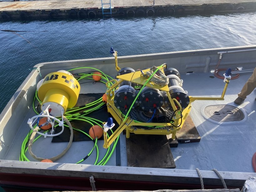Photo of an acoustic buoy unit ready for deployment.
