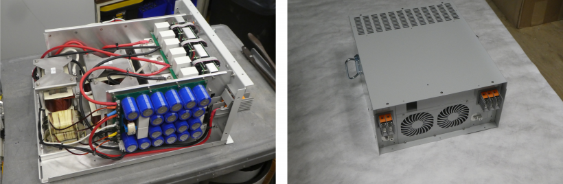 Side-by-side photos of a power inverter. On the left, without its cover and on the right, with its cover.