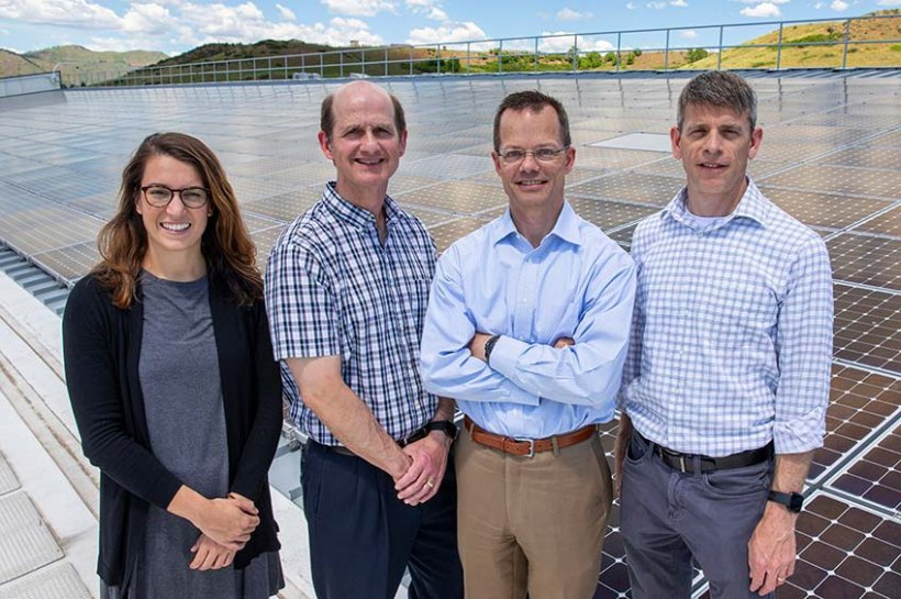 The team of NREL employees that supported NASA decision-making related to a new PV plant. From left to right: Kathleen Krah, Michael Ingram, Tom Harris, and Dan Olis.