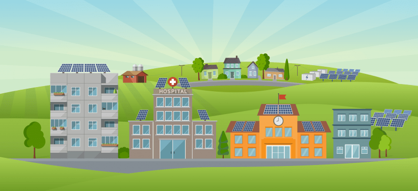 graphical depiction of a town where all the buildings have solar panels.