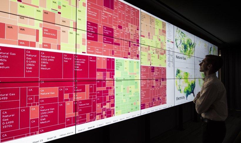 Examining data on a wall display