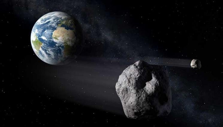 An artist's illustration of asteroids, or near-Earth objects.