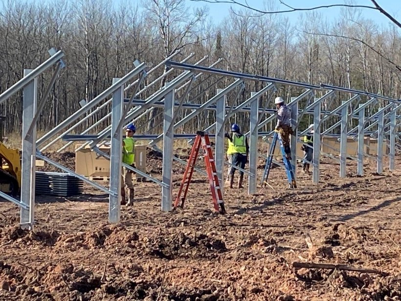 Construction of solar panels.