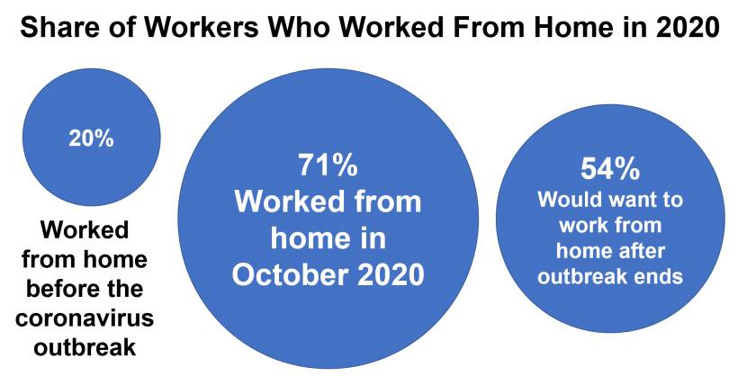 Share of workers who worked from home in 2020