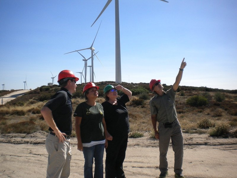 A group of people in front of wind turbines.