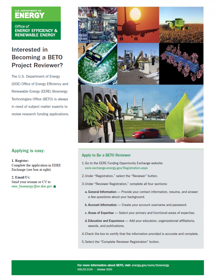 A screenshot of the BETO Project Reviewer flyer.