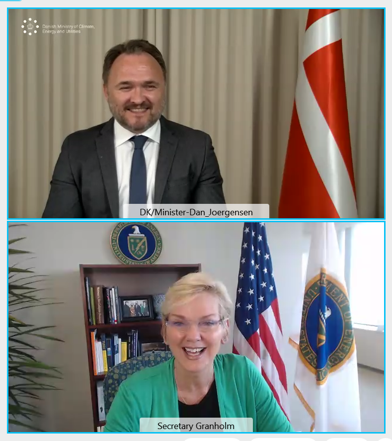 Secretary Granholm and Denmark Minister of Climate, Energy, and Utilities Dan Jørgensen talk to each other through the computer.