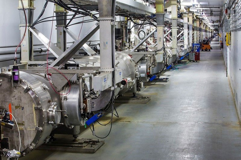 A view of the Continuous Electron Beam Accelerator Facility. This particle accelerator is a complex machine that enables scientists to study the nucleus of the atom and its parts.