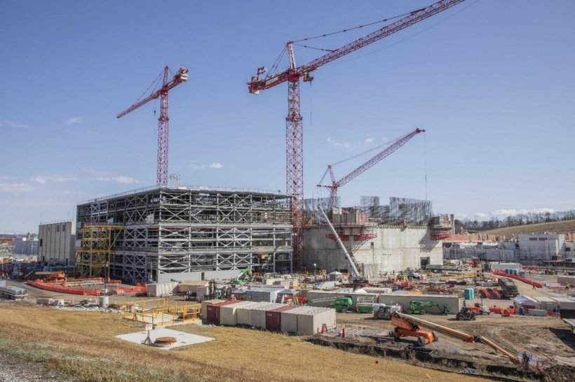 The Uranium Processing Facility (UPF) Project main construction site—Main Process Building, Salvage and Accountability Building and Mechanical Electrical Building.
