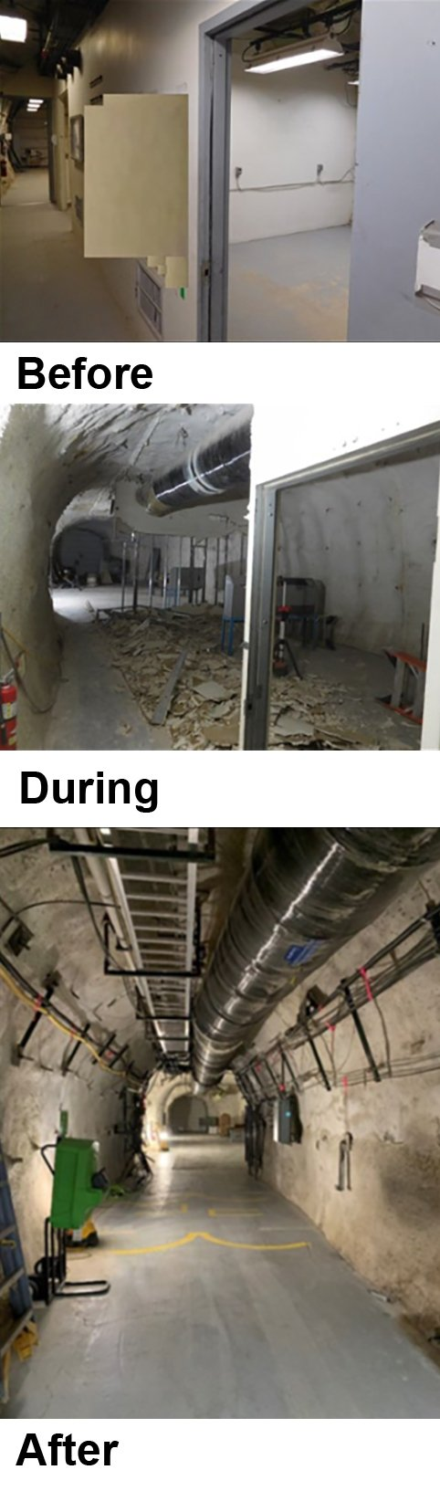 Before, during, and after photos of the U1a Complex Enhancements Project.